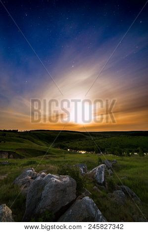 Real Starry Summer Night Outoor View With Moon Halo Phenomenon