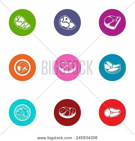 Beefsteak Icons Set. Flat Set Of 9 Beefsteak Vector Icons For Web Isolated On White Background