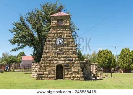Clocolan, South Africa - March 12, 2018: A Sandstone Memorial Wall At The Dutch Reformed Church In C