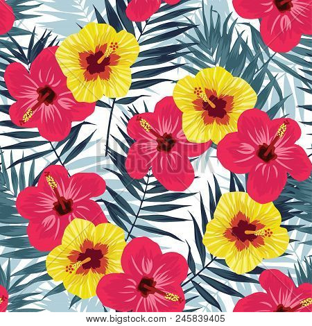 Tropical Jungle Seamless Pattern With Palm Leaves And Hibiscus Flowers. Summer Fabric Floral Design.