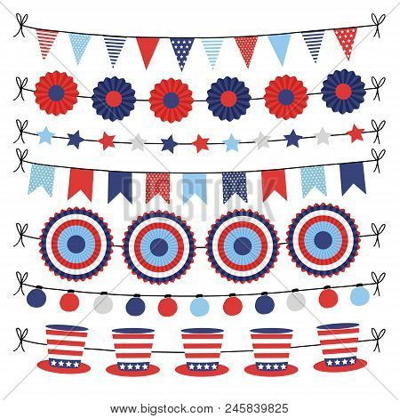 Set Of Bunting Paper Flags Garlands. Party Decorations, Web Banners In Usa Flag Colors. Isolated Vec