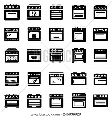 Oven Stove Furnace Fireplace Icons Set. Simple Illustration Of 25 Oven Stove Furnace Fireplace Vecto