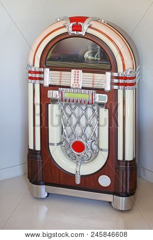 Jukebox Replica Automated Music Player In Corner