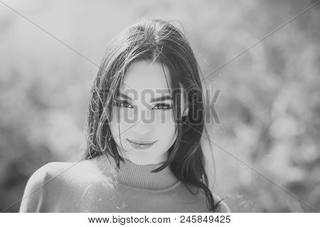 Energy, Joy, Serenity. Fashion, Beauty Concept. Girl With Makeup Face Smiling On Sunny Day. Woman Wi