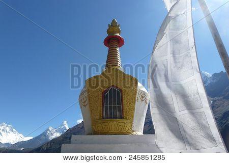 Stupa With A White Flag, Namche Bazaar, Everest Base Camp Trek, Nepal