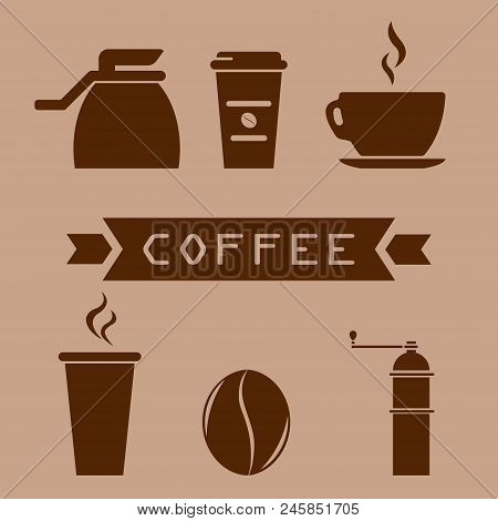 A Cup Of Coffee, A Coffee Pot, A Coffee Grinder, A Grain Of Coffee. Glass In A Flat Style. Coffee Ic
