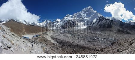 Gorak Shep And Mount Lhotse With Blue Sky And Big Clouds, Everest Base Camp Trek, Nepal