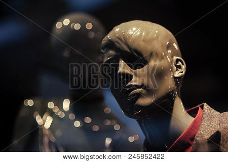 Shopping Concept. Mannequin Head In Boutique. Male Mannequin Wearing Fashionable Suit. Dummy In Styl