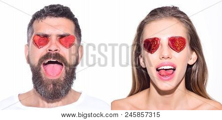 Emoji Set Of Woman And Bearded Man With Hearts On Eyes. Collage Of Emotions. Different Emotions. Fee