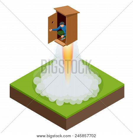Isometric Bad Startup Or Stupid Startup Concept. Vector Illustration.