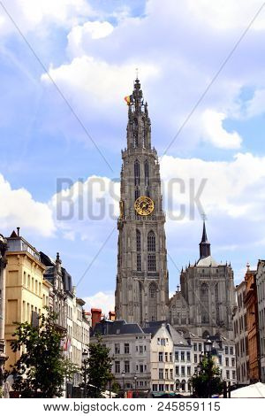 Famous Meir Street and clock tower of cathedral of Our Lady, Antwerp Belgium, Europe