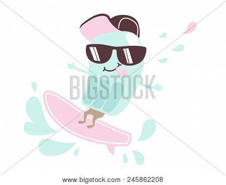 Cool Ice Cream Ride On Surfboard Print. Surfer Fruit Ice Boy. Summer Fashion Child Vector. Fun Illus