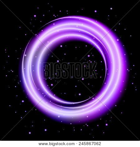 Purple Light Shining Circle Banner, Stock Vector