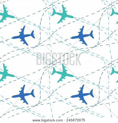 Plane Pattern, Seamless Pattern With Planes, Blue Plane On White Background.