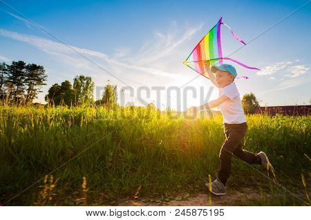Happy Boy With A Kite Running In A Meadow In Summer In Nature.