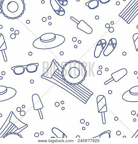 Seamless Pattern With Inflatable Mattress, Inflatable Circle, Ice Cream, Hat, Glasses, Beach Slipper