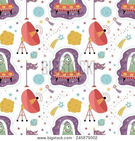 Space Aliens Cartoon Seamless Pattern. Funny One Eye Jelly Creature In Flying Saucer, Parabolic Ante