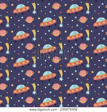 Alien Spaceship In Outer Space Cartoon Seamless Pattern. Flying Saucer, Stars, Comet, Saturn Planet