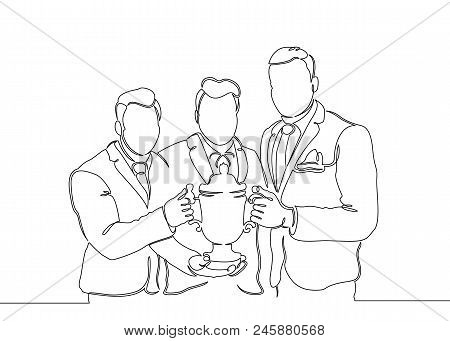 Continuous One Drawn Single Line Winning Cup In The Hands Of The Winner Team . Concept Cup, Winner,
