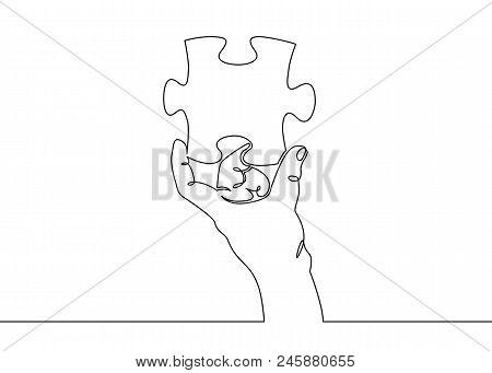 One Continuous Drawn Single Hand Palm Hand Holding Puzzle. Concept Solution, Piece, Idea, Puzzle, Pr