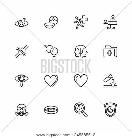 Medical research icons. Set of line icons. Urgent help, heart decease, virus. Medical research concept. Illustration can be used for topics like decease prevention, medication, health care. poster