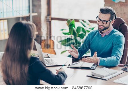 Job Interview - Joyful, Successful Businessman Asking Candidate Questions, Sitting At Desk In Workpl