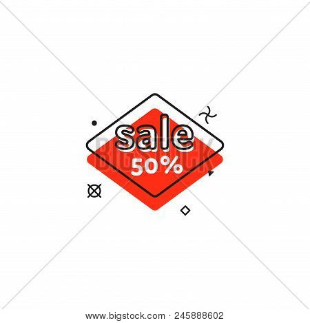Promo Banner Geometric Bubbles. Special Offer Sale Red Tag Isolated Trendy Flat Style. Discount Offe