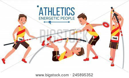 Athletics Male Player Vector. In Action. Sport Concept. Jogging Race. Sportswear. Individual Sport.