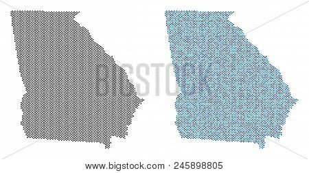 Circle Dot American State Georgia Map Version. Vector Territorial Plans In Black Color And Cold Blue
