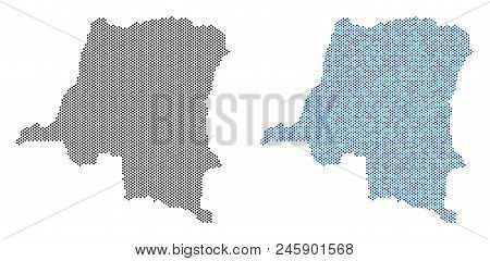 Pixelated Democratic Republic Of The Congo Map Version. Vector Geographic Plans In Black Color And C