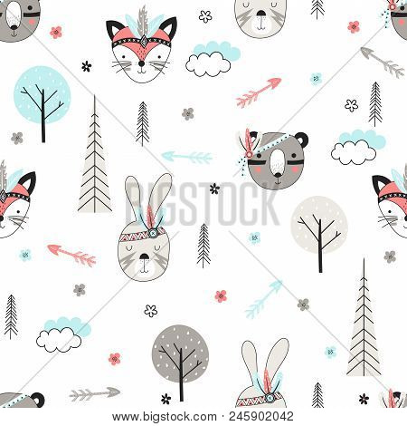 Seamless Pattern With Cute Woodland Tribal Animals In Cartoon Style. Vector Illustration For Kids.