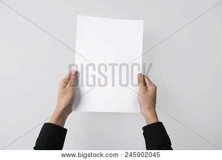 Hand Showing Blank Paper A4 Flyer For Mockup Template Logo Branding On Grey Background.
