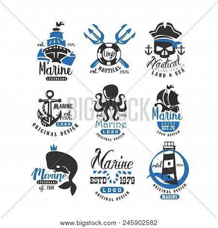 Nautical Logo Original Design Set, Retro Badges For Nautical School, Sport Club, Business Identity,