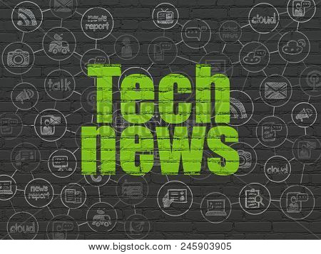 News Concept: Painted Green Text Tech News On Black Brick Wall Background With Scheme Of Hand Drawn