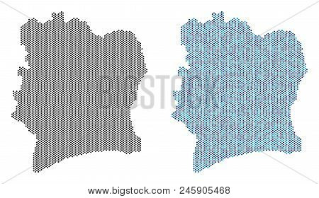 Circle Dot Ivory Coast Map Version. Vector Geographic Plans In Black Color And Cold Blue Color Shade