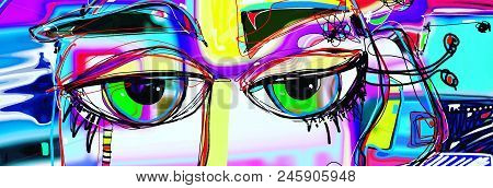 Digital Abstract Art Poster With Doodle Human Eyes, Contemporary Art Vector Illustration