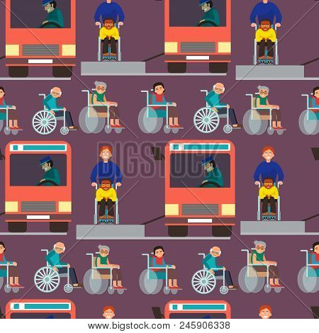 Disabled Handicapped Diverse People Wheelchair Invalid Person Help Disability Characters Vector Illu