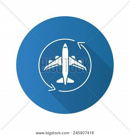Flight Transit Flat Design Long Shadow Glyph Icon. Circle Arrow With Airplane Inside. Plane Transfer