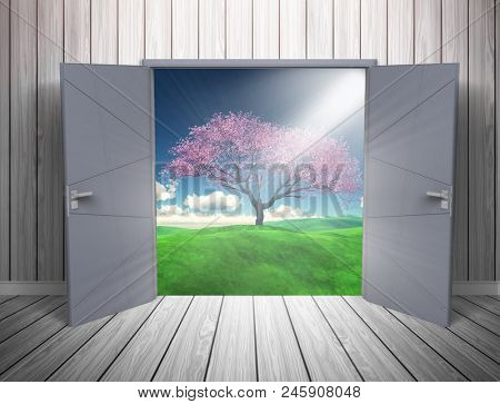 3D render of a grunge room interior with open door looking out to a countryside andscape
