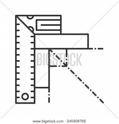 Set Square Linear Icon. Angle Measurement. Thin Line Illustration. Ruler With Angle Bar. Contour Sym