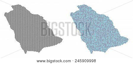 Pixel Saudi Arabia Map Version. Vector Territory Plans In Black Color And Cold Blue Color Variations