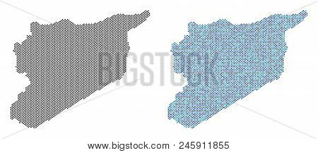 Pixel Syria Map Variants. Vector Geographic Plans In Black Color And Blue Color Tones. Abstract Coll