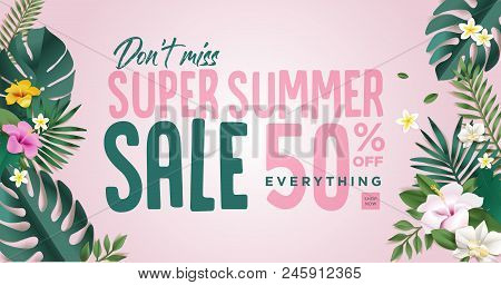 Summer Sale. Vector Illustration Concept For Mobile And Web Banner, Poster, Online Shopping Ads, Soc