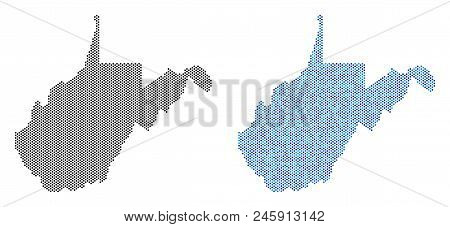 Round Point West Virginia State Map Variants. Vector Territory Schemes In Black Color And Cold Blue
