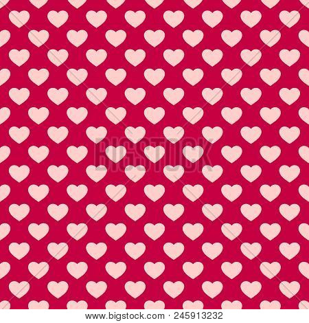 Hearts Seamless Pattern. Valentines Day Background. Vector Abstract Geometric Red And Pink Texture,