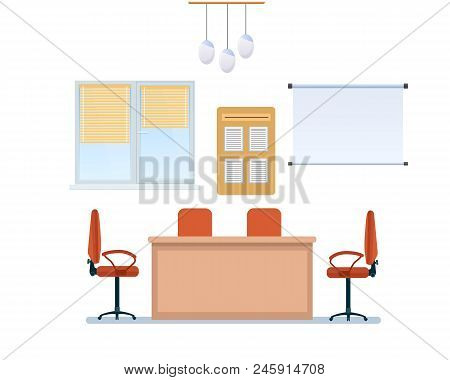 Interior Of Office Working Room With Furniture, In Form Armchairs And Classic Table, Windows With Sh