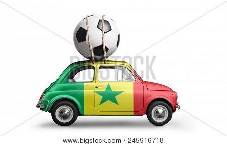 Senegal flag on car delivering soccer or football ball isolated on white background poster