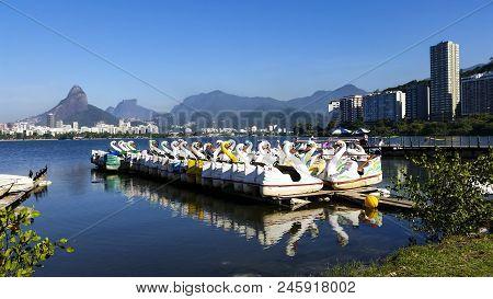 Paradise Of The Children, Pedal Boats In The Lagoon, Lagoa Rodrigo De Freitas, Rio De Janeiro Brazil