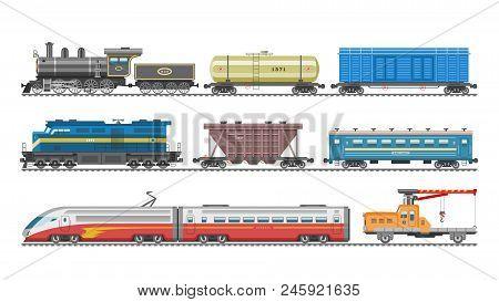 Train Vector Railway Transport Locomotive Or Wagon And Subway Or Metro Transportation Illustration S