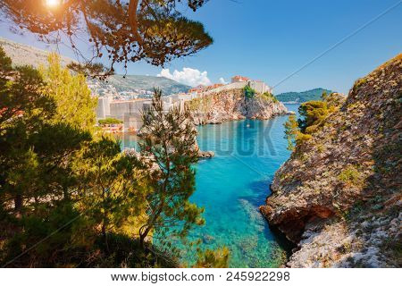 Great view at famous european travel destination city of Dubrovnik - Fort Bokar seen from south old walls on a sunny day. Location place Croatia, South Dalmatia, Europe. Discover the beauty of earth.